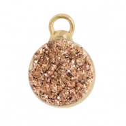 Natural stone charms crystal quartz 10mm Copper-Gold
