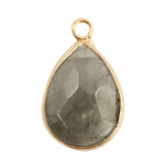 Natural stone charms drop Fossil Grey-Gold