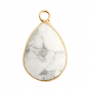 Natural stone charms drop White Marble-Gold