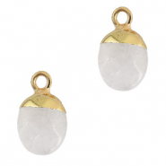 Natural stone charms White Crystal-Gold