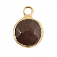 Natural stone charms 10mm Dark Brown Grey-Gold
