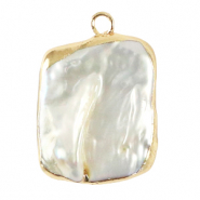 Freshwater pearls charm asymmetric Gold-Natural White