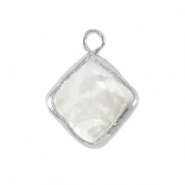 Freshwater pearls charm rhombus Silver-Natural White