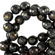 8 mm natural stone faceted beads round Black-AB Coating