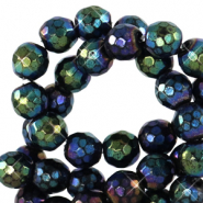 6 mm natural stone faceted beads round Black-AB Coating