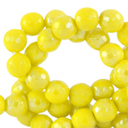 6 mm natural stone faceted beads round Ceylon Yellow-AB Coating