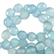 6 mm natural stone faceted beads round Dusk Blue-Opal AB Coating