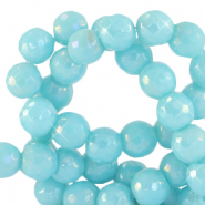 4 mm natural stone faceted beads round Light Turquoise Blue-AB Coating
