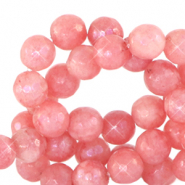 8 mm natural stone faceted beads round Living Coral Red-Opal AB Coating