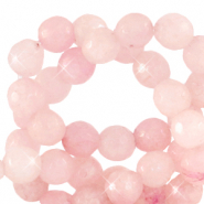 8 mm natural stone faceted beads round Blossom Pink-Opal AB Coating