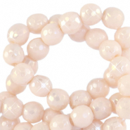 4 mm natural stone faceted beads round Ivory Cream Beige-AB Coating