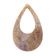 Resin pendants drop 57x36mm Suger Almond Taupe