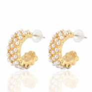 Trendy earrings pearl creole 18mm Gold-Off White