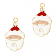 Metal charms Santa Gold-White