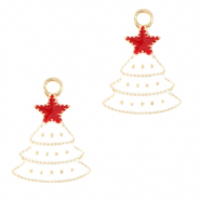 Metal charms christmas tree Gold-White