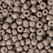 Glass seed beads 8/0 (3mm) Fossil Grey