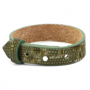 Cuoio bracelet leather croco 15 mm for 20 mm cabochon Olive Green-Silver