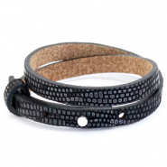 Cuoio bracelet leather croco 8 mm double for 12 mm cabochon Black-Silver
