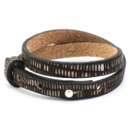 Cuoio bracelet leather croco 8 mm double for 12 mm cabochon Hickory Brown-Silver