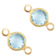 DQ European metal charms connector crystal glass round 6mm Gold-Ether Aqua Blue Crystal