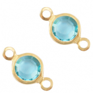 DQ European metal charms connector crystal glass round 6mm Gold-Baltic Blue Crystal