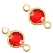 DQ European metal charms connector crystal glass round 6mm Gold-Salsa Red Crystal