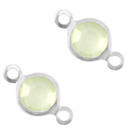 DQ European metal charms connector crystal glass round 4mm Silver-Meadow Green Crystal