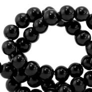 4 mm glass beads opaque Black