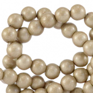 6 mm glass beads opaque Champagne Grey Metallic