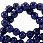 6 mm glass beads opaque Dark Sodalite Blue