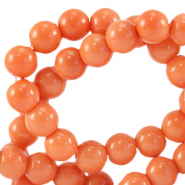 6 mm glass beads opaque Coral Nectarine Orange