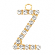 Metal rhinestone charms initial Z Gold