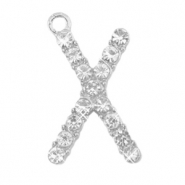 Metal rhinestone charms initial X Antique Silver