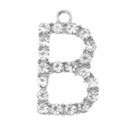 Metal rhinestone charms initial B Antique Silver
