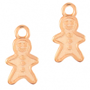 DQ European metal charms gingerbread man Rose Gold (nickel free)