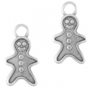 DQ European metal charms gingerbread man Antique Silver (nickel free)