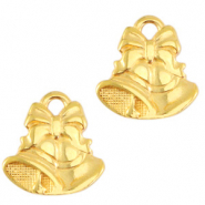 DQ European metal charms Christmas bells Gold (nickel free)