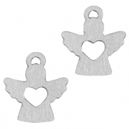 Wooden pendants angel with heart Silver
