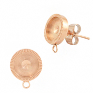 Polaris Steel earrings with setting for 7mm cabochon (with loop) Rose Gold