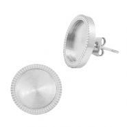 Polaris Steel earrings with setting for 12mm cabochon Silver
