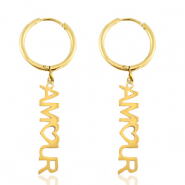 "Stainless steel earrings ""amour"" Gold"