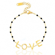 "Stainless steel bracelets ""love"" Gold-Black"