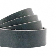 DQ European leather flat 20 mm Bluestone Grey