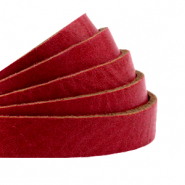 DQ European leather flat 10 mm Cranberry Red