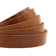 DQ European leather flat 10 mm Cognac Brown