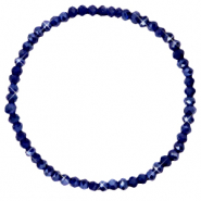 Top faceted bracelets 4x3mm Evening Blue-Pearl Shine Coating