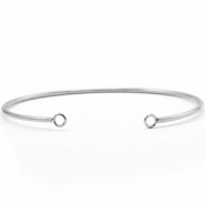 DQ European metal findings bangle bracelet with 2 loops Antique Silver (nickel free)