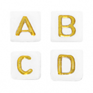 Acrylic letter beads mix White-Gold