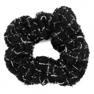 Scrunchie woven hair tie Black-White