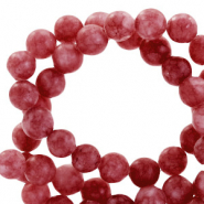 Semi-precious stone beads round 8mm jade matt Wineberry red